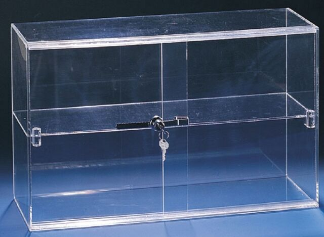 "Two Shelf Acrylic Locking Display Case Multi Use 21 1/4"" x 7 1/2"" x 13 1/4"""