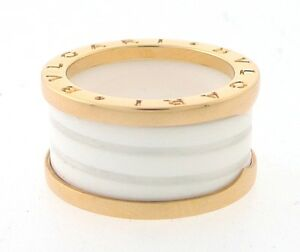 BVLGARI-B-Zero1-18K-Pink-Gold-White-Ceramic-4-Band-Ring-Size-7-55-Ref-AN855564