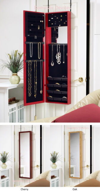 Over the Door/Wall Mount Mirrored Jewelry Armoire Cabinet ...