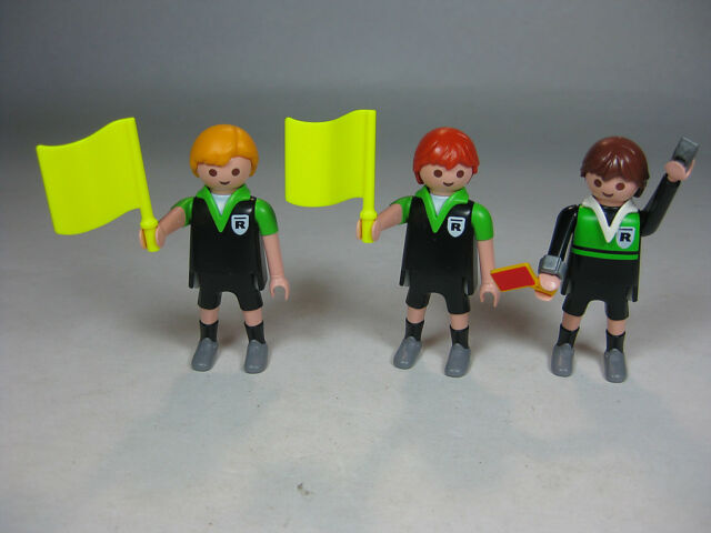 Playmobil 3 Soccer Referee Figure Lot with Whistle Flags Red Card NEW
