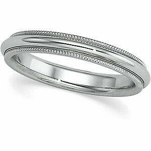 SIZE-5-3-0mm-14k-White-Gold-Comfort-Fit-Milgrain-Wedding-Band-Ring-New