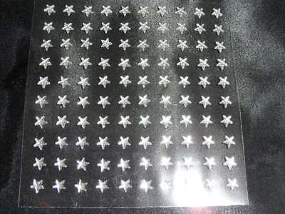 100 x selbstklebende Glitzersteine Strasssteine  -   Stern   6mm   -  Klar