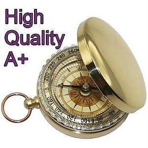 NEW-real-High-Quality-BRASS-POCKET-COMPASS-CAMPING-WATCH-STYLE-DELICATE-BRONZING