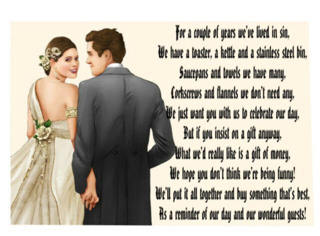 50 wedding card poems asking for money ebay
