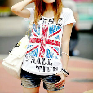 Summer-Patriotic-T-Shirt-British-England-Union-Jack-Flag-Pop-Tops-Women-Dress-Z