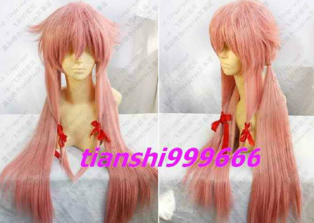 Future Diary Mirai Nikki Gasai Yuno Cosplay long Straight pink Full Wig  Q:001