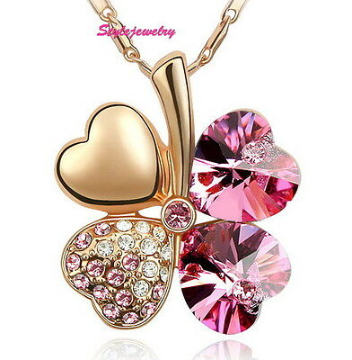Rose Gold Plated Pink Four Leaf Clover Necklace Made With Swarovski Crystal N307