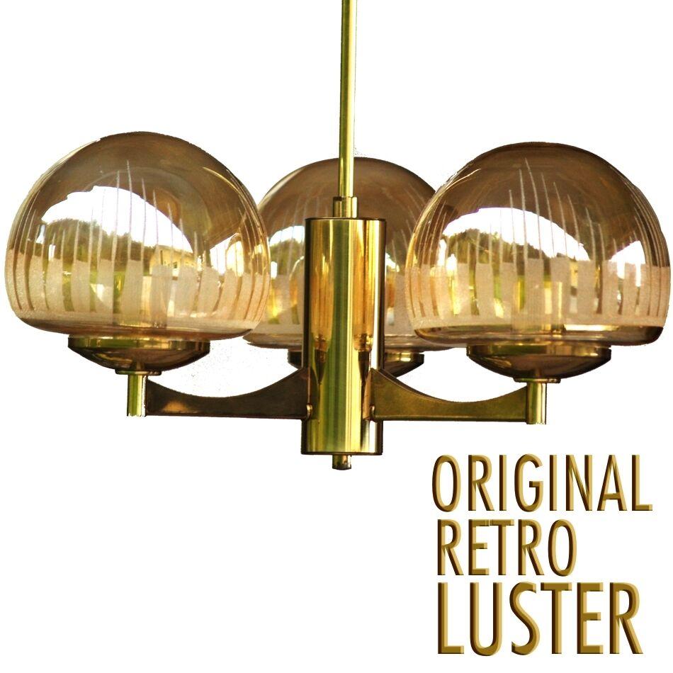 HÄNGELAMPE Retro goldene Lampe 60er- 70er-Jahre Design Leuchter GLAS MESSING