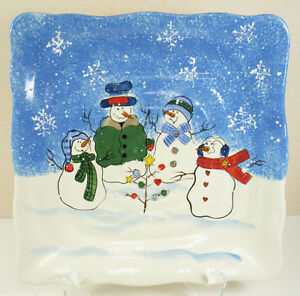 Sonoma-Button-Up-11-034-Square-Serving-Plate-Christmas-Holiday-Snowflake-Snowman
