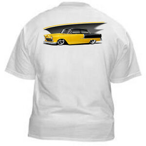 Kurbside-Kustoms-1955-Chevy-Chevrolet-Belair-210-Hot-Rod-T-shirt-EB-29Y