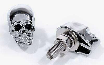 Skull Screws License Plate Metal Chrome Black Chopper Custom 25mm