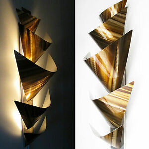 Image Is Loading Modern Abstract Metal Wall Art Accent Lamp Painting