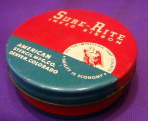 Sure-Rite-Typewriter-Ribbon-Tin-Bright-Reds-Blues-Fine-Condition