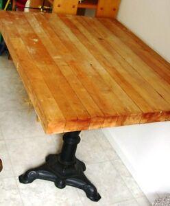 ANTIQUE-c-1900s-CAST-IRON-thick-BUTCHER-BLOCK-Wood-vintage-PEDESTAL-old-TABLE