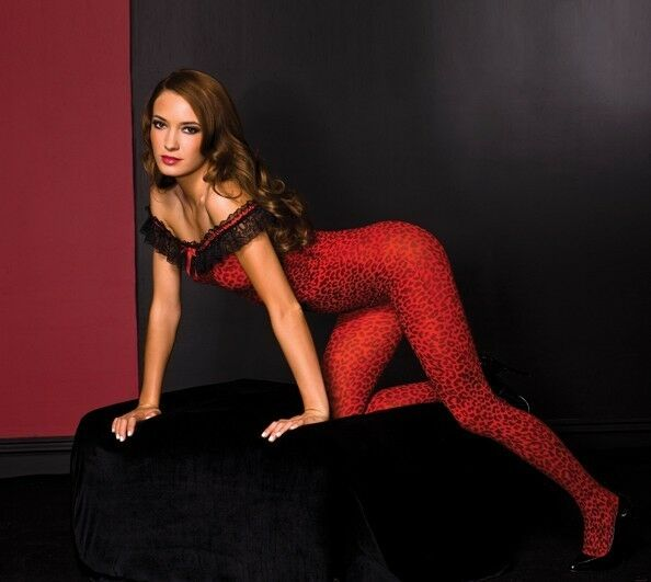 Crotchless Off The Shoulder LEOPARD PRINT Bodystocking - RED/BLACK O/S