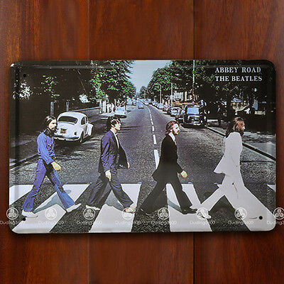 Tin Sign Wall Decor Retro Metal Art Poster The Beatles Abbey Road Music Band