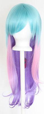 28'' Long Straight Layered Fade Aqua Green, Pink, Lavender Purple Cosplay Wig