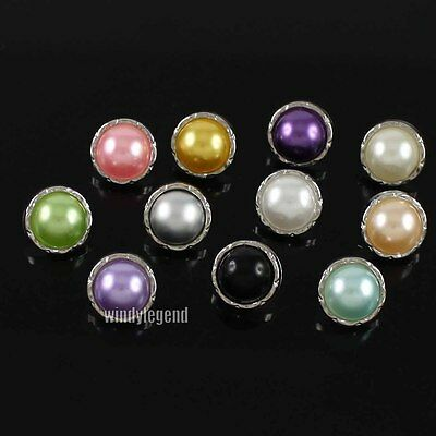100 PCS FAUX PEARL MIXED COLORS SHANK BUTTON 11MM FOR SEWING CLOTHES CRAFT