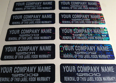 250 CUSTOM PRINT BLACK TINT VOID WARRANTY HOLOGRAM LABELS STICKERS 1.5 X.50 IN