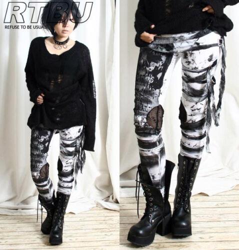 Unisex Ultra Long Gathered Punk Gothic Rocker Distressed Tie Dye Legging/Pants