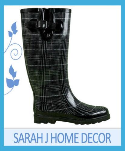 Tweed Gumboots Wellies Ladies Gum Boots Rainboots Size 6 7 8 9 10 11 *New*