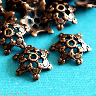 Sale Lead Free 10pcs Antique Copper Flower Bead Caps A0529-R
