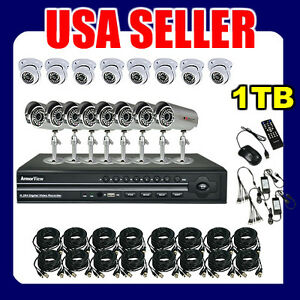 16CH-Indoor-White-Dome-Outdoor-Weatherproof-CCTV-Security-Camera-System-1TB-HD
