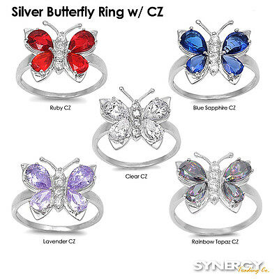 .925 Sterling Silver Cubic Zirconia Butterfly Fashion Ring Size 5 6 7 8 9 NEW
