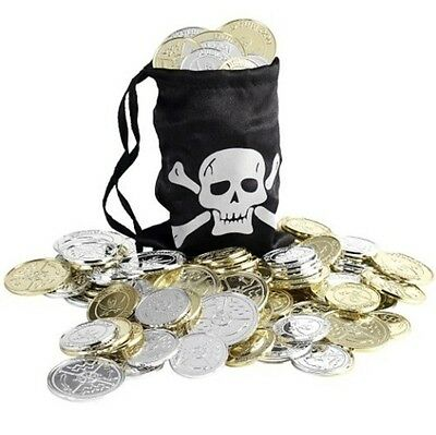 Unisex Mens Kids Ladies Pirate Fancy Dress Coins & Bag 1st Class Post