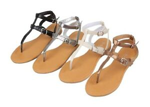 Womens-Roman-Gladiator-Sandals-Flats-Thongs-shoes-2-Buckles-In-4-colors