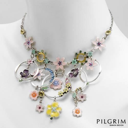 NWT PILGRIM DENMARK Silver-Tone Crystal Enamel Flower Floral Adjustable Necklace