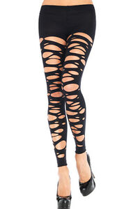 SEXY-BLACK-TATTERED-RIPPED-SHRED-ROLLER-DERBY-LEGGINGS-FOOTLESS-TIGHTS-GOTH-7306