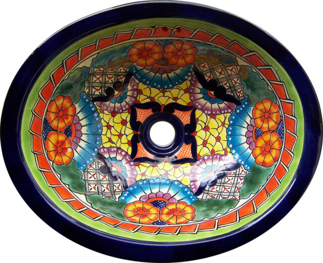 "M 187 Mexican Talavera  Ceramic SINK  Bathroom wash basin 17""x14"""