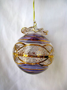 Egyptian Handmade 24K Gold Accent Ball Glass Christmas ...