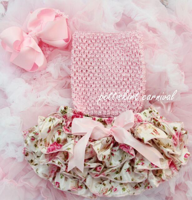 Newborn Baby Rose Ruffles Bloomers Light Pink Tube Top Bow Headband 3pc NB-24M