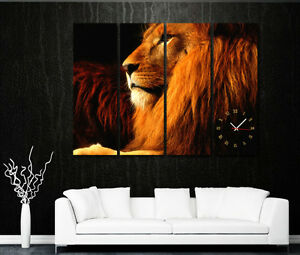 Lion-King-Modern-Decorative-Wall-Clock-On-Canvas-Prints-Set-Of-4-READY-TO-HANG