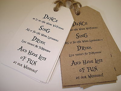 20 Vintage/Shabby Chic Style Wedding Favour Tags - Dance, Sing, Drink