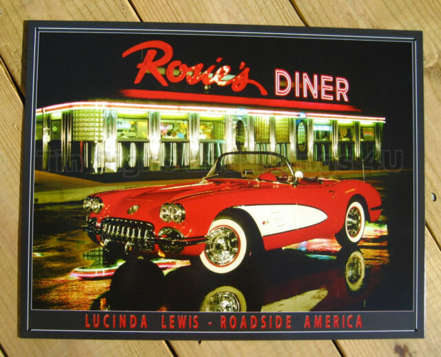 CORVETTE Rosie's Diner TIN SIGN chevrolet 50s vtg red convertible wall decor 897