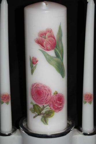 Butterfly /& Roses White Wedding Unity Candle Set Plus Tapers Spring Summer