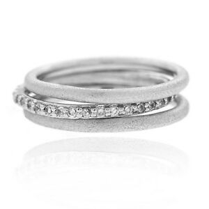 Silver-Tone-CZ-Stackable-Brushed-Band-Rings-Set