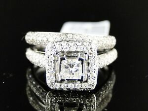 image is loading 14k ladies womens white gold princess cut diamond - Princess Cut Diamond Wedding Ring Sets