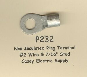 10-Bare-Ring-Lug-Brazed-Barrel-Terminal-Connector-2-Wire-AWG-7-16-034-Stud-MOLEX