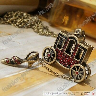 Fashion Fairy Tale carriage high heels red crystal necklace