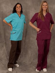 Womens-Scrubs-Set-Free-shipping-XS-2XL-White-Gray-Black-Coffee-Wine-InkBlue