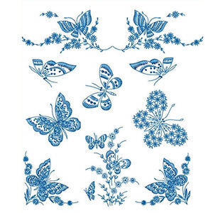 Details about ABC Designs Redwork Butterflies Machine Embroidery Designs  Set for 5