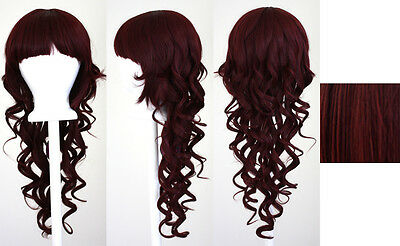 28'' Long Curly Layered Cut Mohagany Brown Synthetic Cosplay Wig NEW