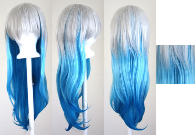 28'' Long Straight Layered Fade Blue Cosplay Wig