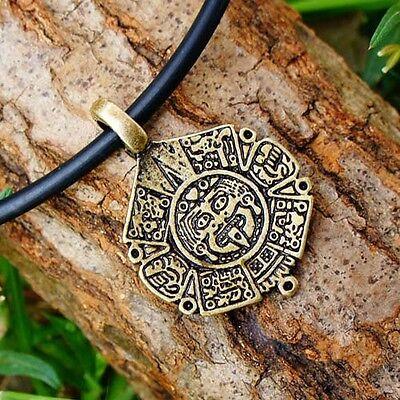 Mayan calendar Totem Maya Aztec Mexican tonalpohualli Seal Brass Pewter Pendant