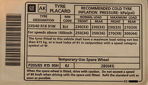 Holden-Commodore-18-034-Tyre-Placard-Label-Decal-VY-VZ-SS-VK-VL-VN-VP-LS1-355-VQ-VG