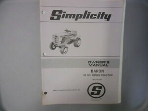 simplicity owner s manual baron 3414h riding tractor ebay rh ebay com simplicity owners manual 1692420 simplicity legacy owner's manual